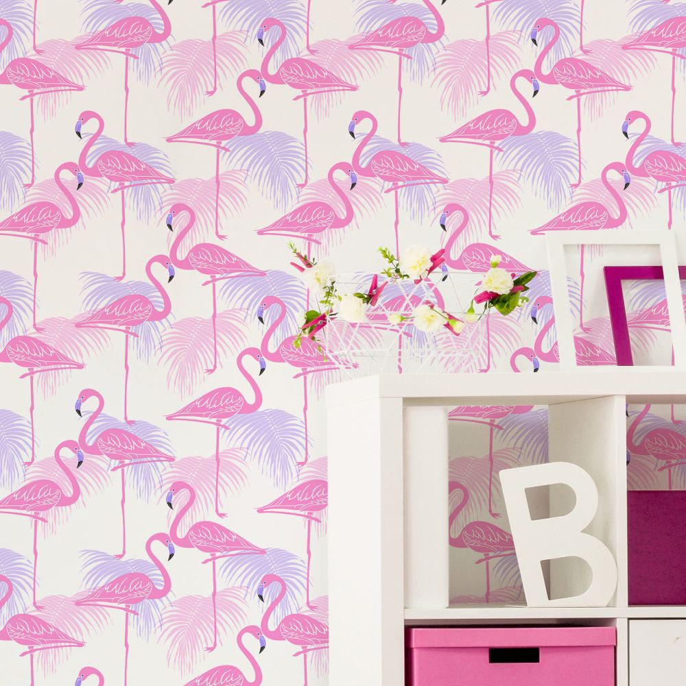 Kidz Flamingo Wallpaper - Pink and Lilac - by Albany