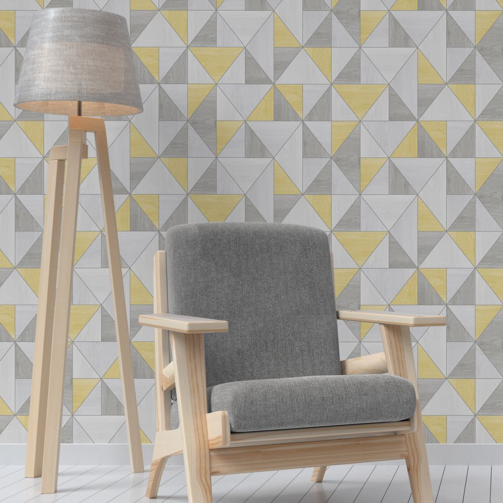 Albany Apex Wood Grain Yellow Wallpaper - Product code: FD42223