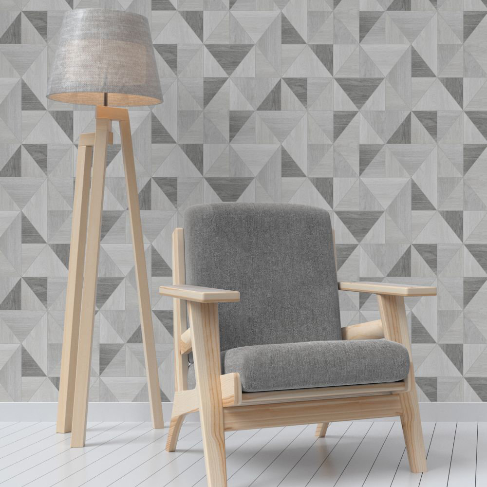 Albany Apex Wood Grain Grey Wallpaper - Product code: FD42226
