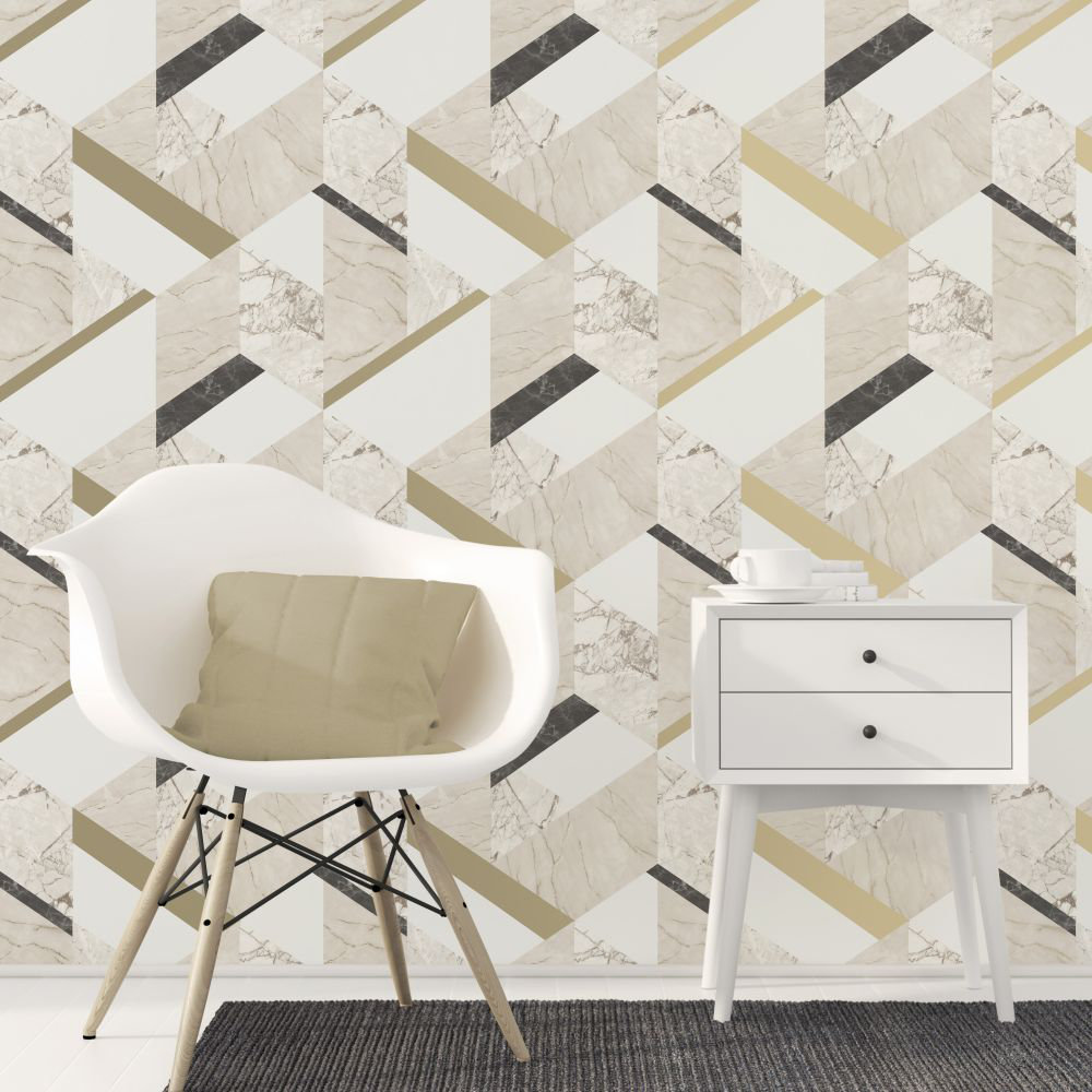 Marblesque Geo Wallpaper - Cream - by Albany