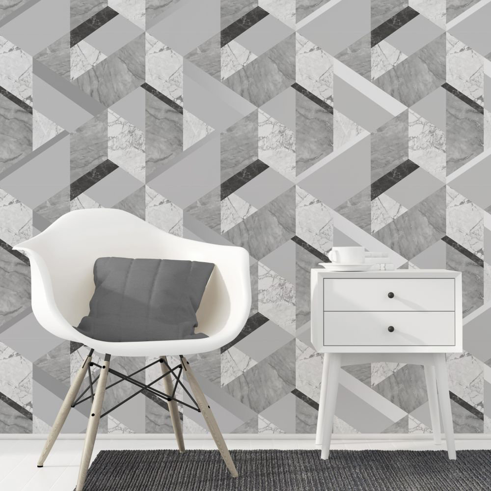 Albany Marblesque Geo Grey Wallpaper - Product code: FD42302
