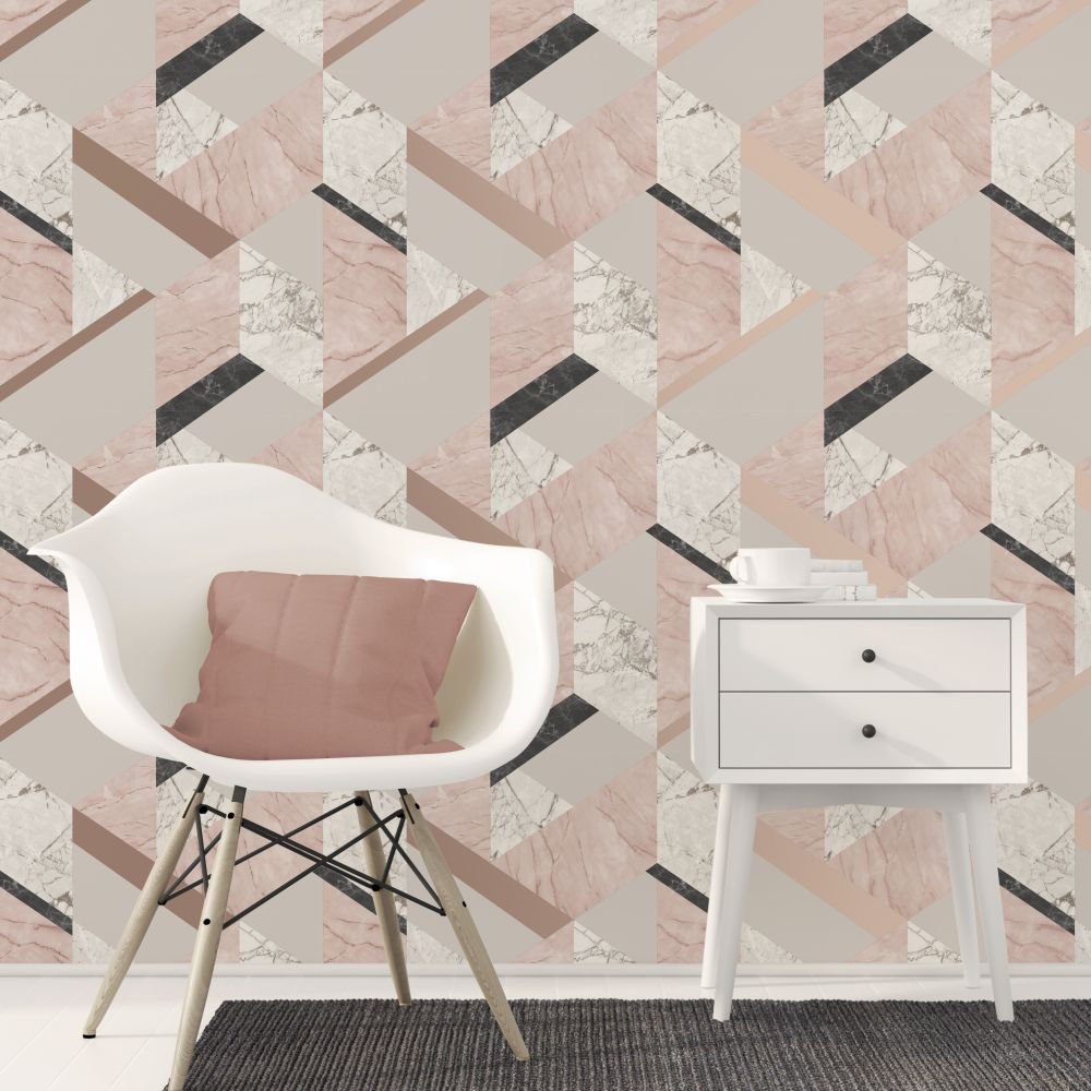 Albany Marblesque Geo Pink Wallpaper - Product code: FD42303