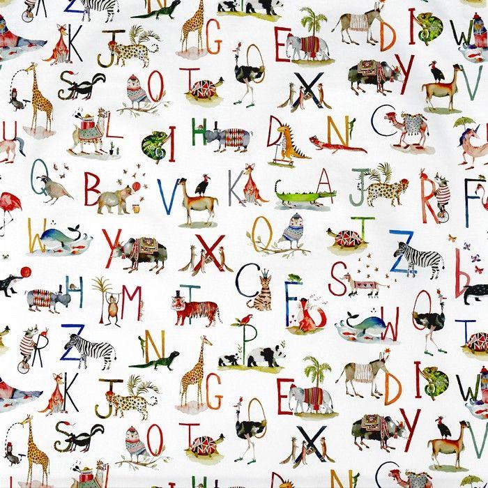 Animal Alphabet Fabric - Multi-coloured - by Prestigious