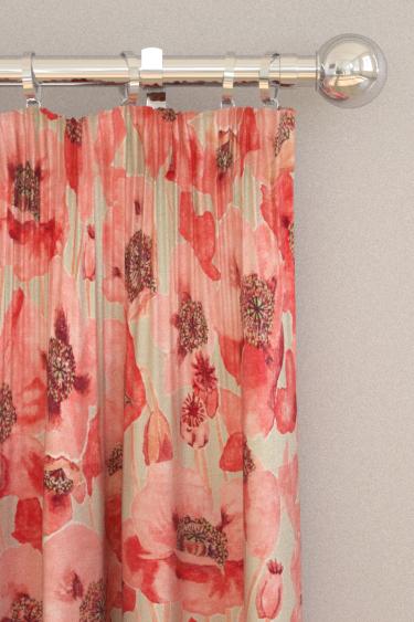 Sanderson Embleton Claret and Linen Curtains