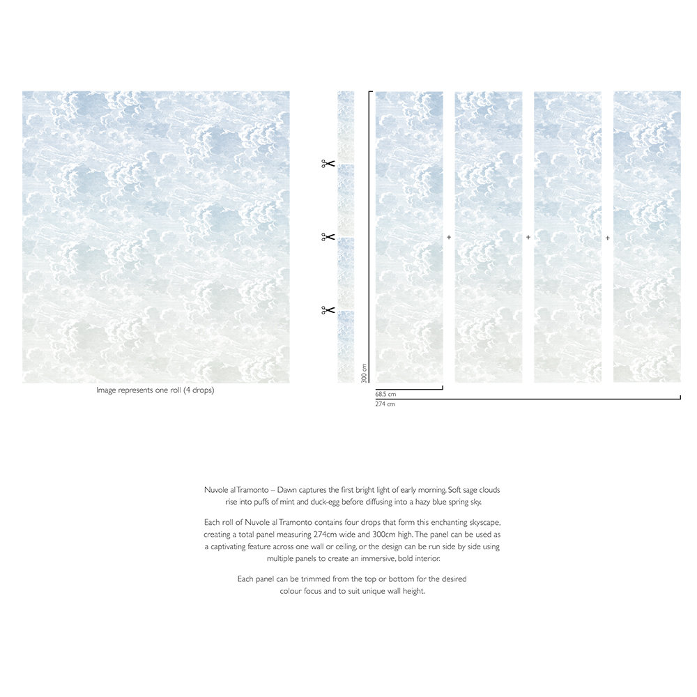 Cole & Son Nuvole al Tramonto Blue-green Mural - Product code: 114/3006