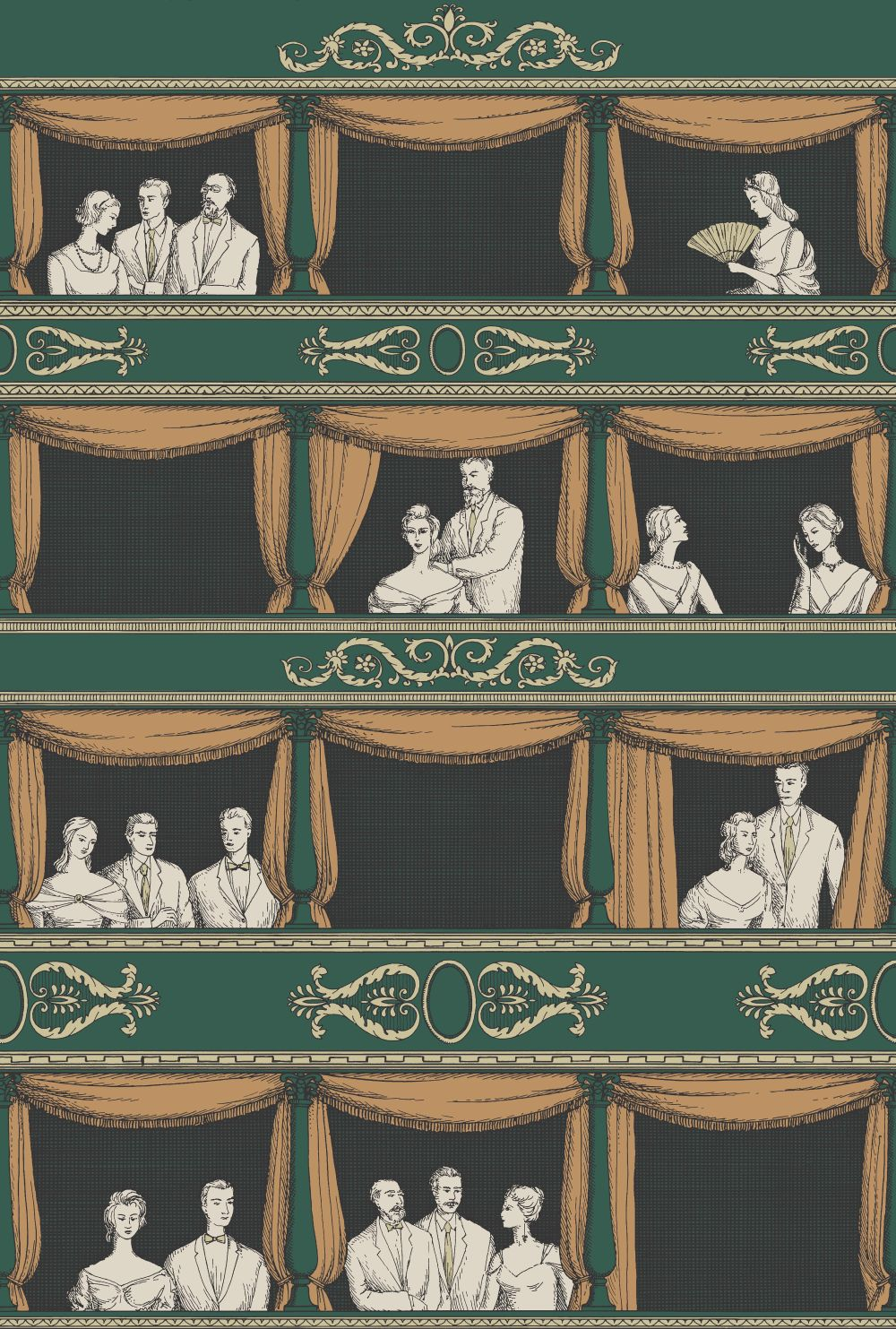 Cole & Son Teatro Green Wallpaper main image