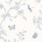 Galerie Butterfly Trail Blue and White Wallpaper