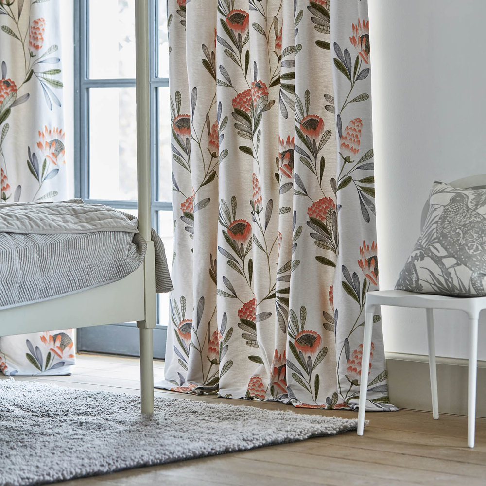 Cayo Fabric - Coral and Silver - by Harlequin