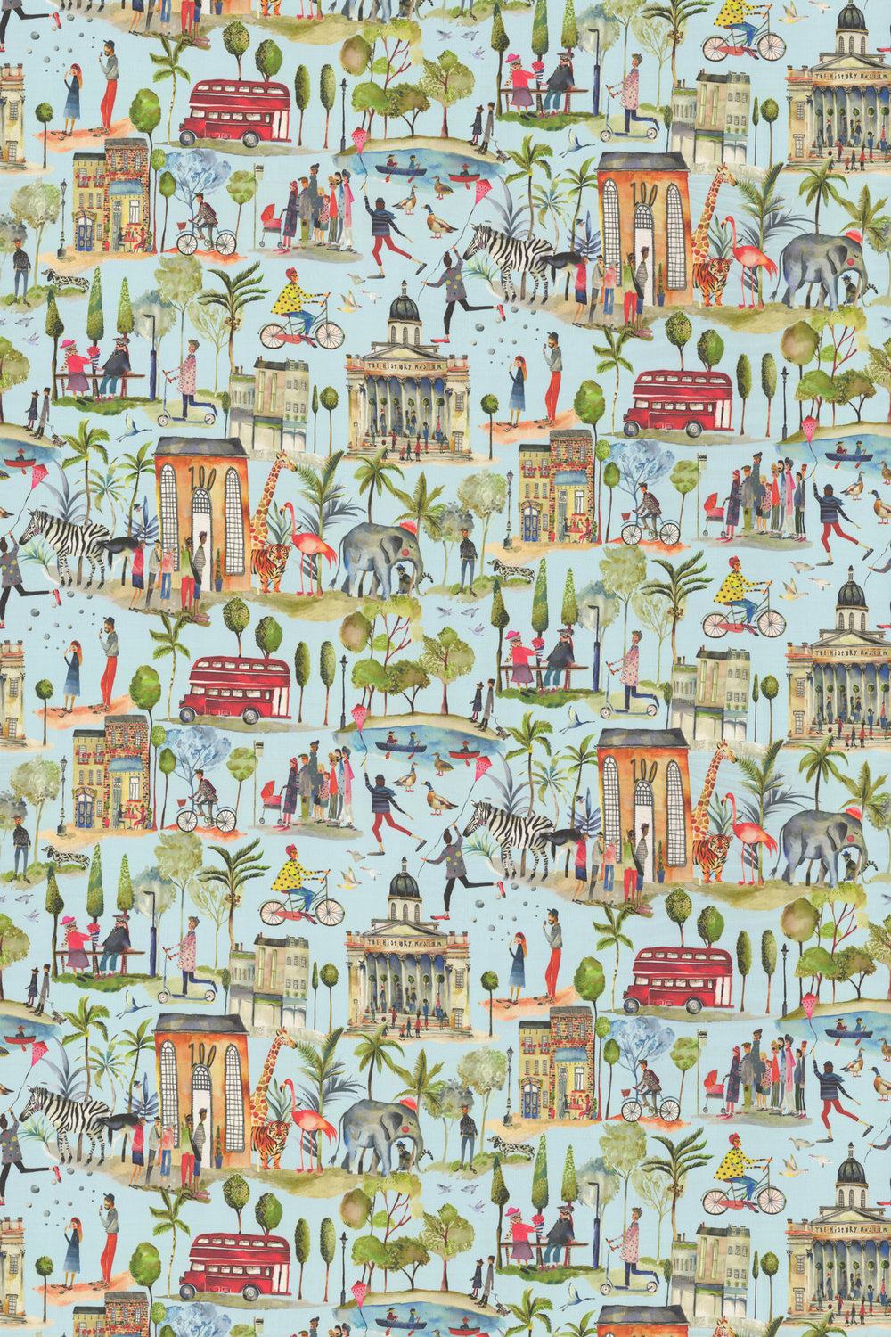 Out and About Fabric - Sky Blue - by Prestigious