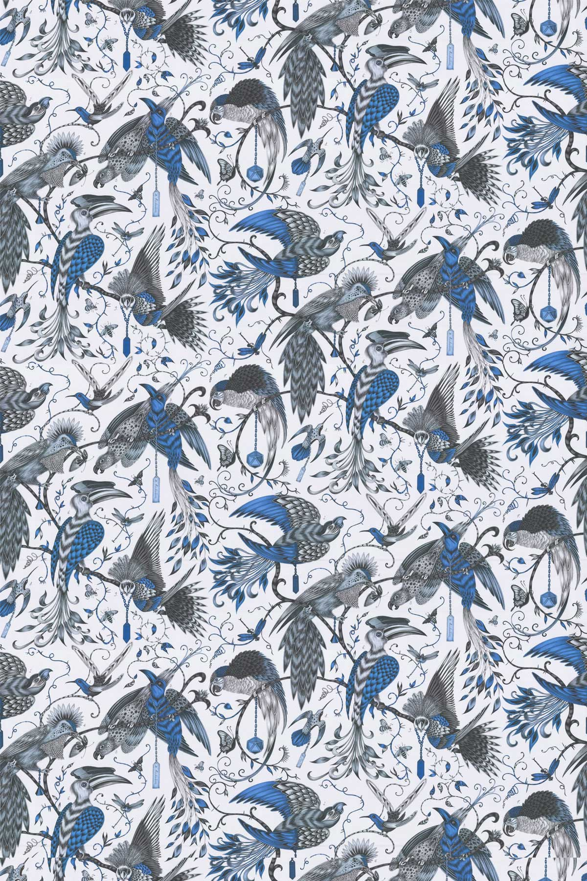 Audubon By Clarke Amp Clarke Blue Fabric Wallpaper Direct