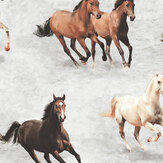 SK Filson Galloping Horses Grey Wallpaper