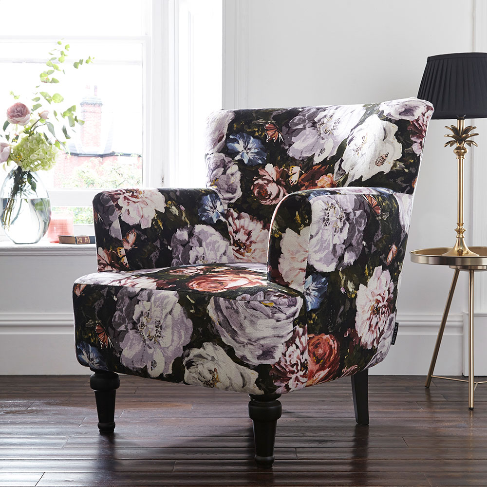 Dalston Chair - Floretta Armchair - Blush - by Clarke & Clarke