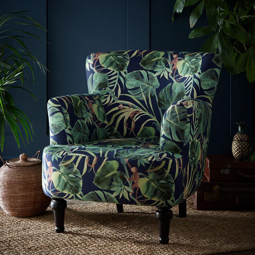 Dalston Chair - Monkey Business Armchair - Indigo - by Clarke & Clarke