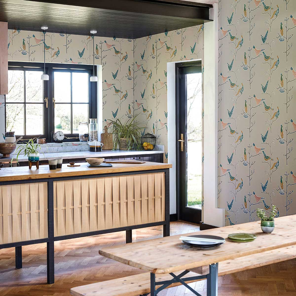 Scion Passaro Ginger & Teal Wallpaper - Product code: 111926