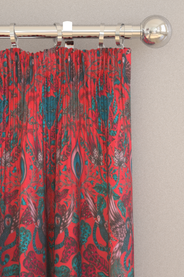 Emma J Shipley Amazon Velvet Red Curtains - Product code: F1206/01