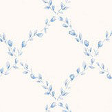 Galerie Miniature Rose Trellis Blue Wallpaper