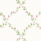 Galerie Miniature Rose Trellis Green and Pink Wallpaper