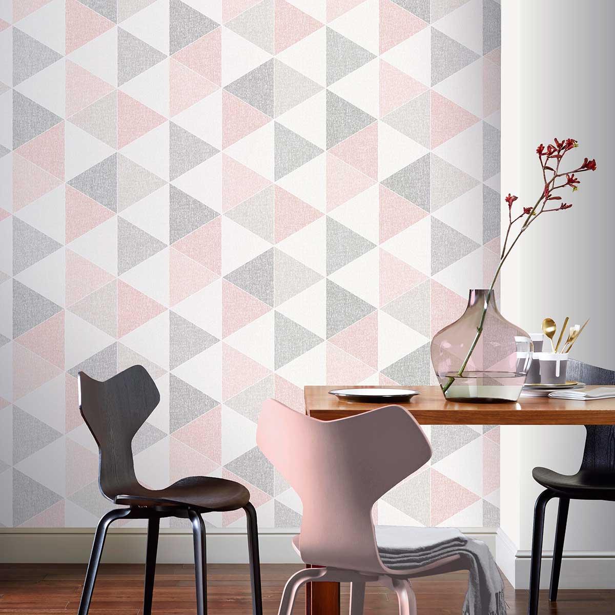 Arthouse Scandi Triangle Pink Wallpaper - Product code: 908204