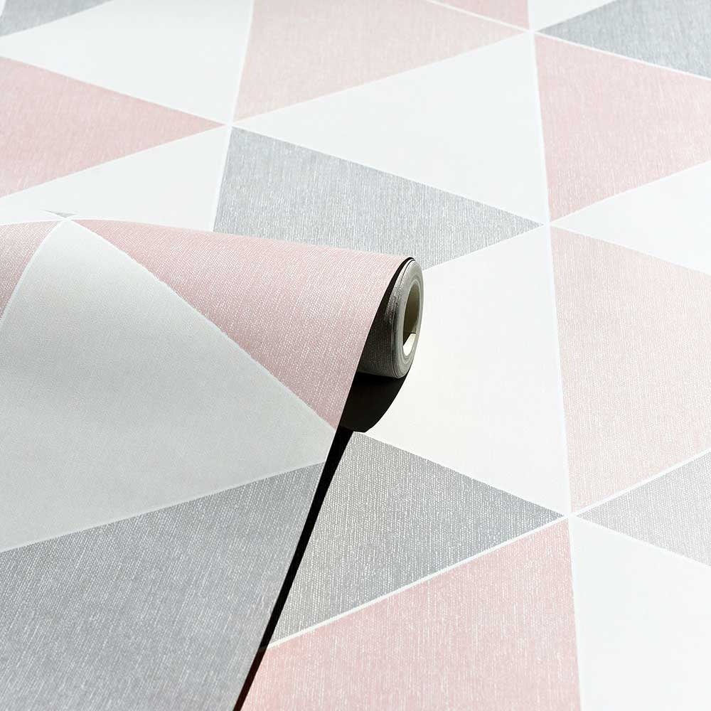 Scandi Triangle Wallpaper - Pink - by Arthouse