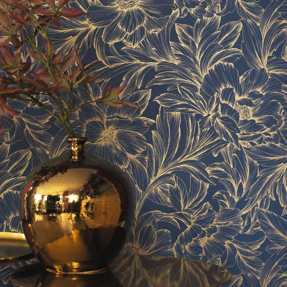 Monceau Wallpaper - Ink / Gold - by Casadeco