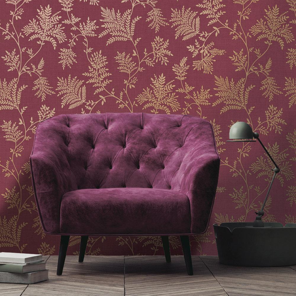 Elsie Wallpaper - Burgundy - by Albany