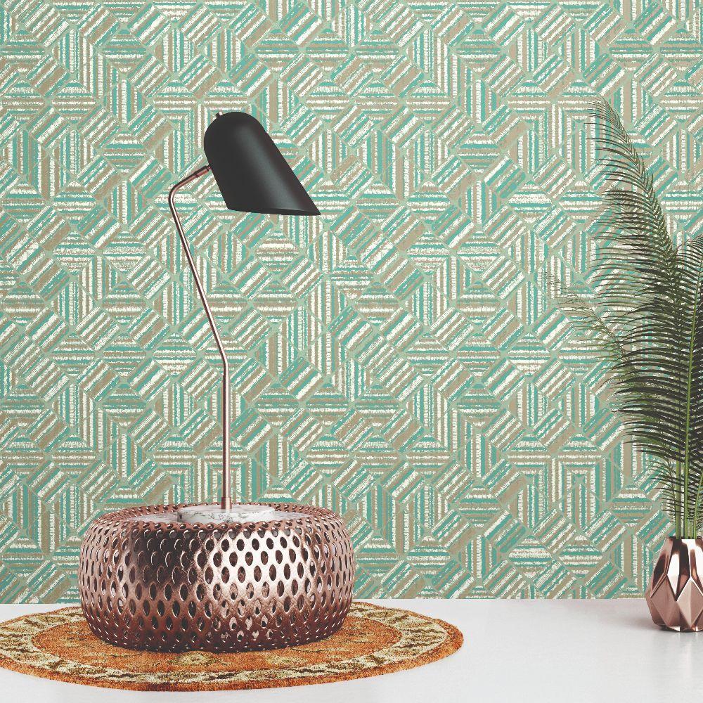 Pyrite Wallpaper - Aqua - by Elizabeth Ockford