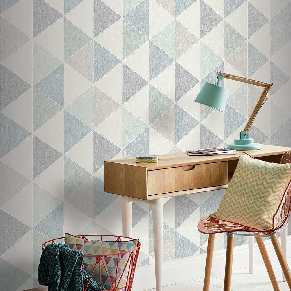 Scandi Triangle Wallpaper - Teal - by Arthouse