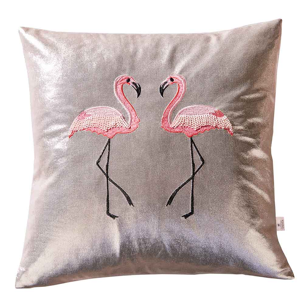Flamingo Metallic Cushion - Metallic Pink - by Oasis