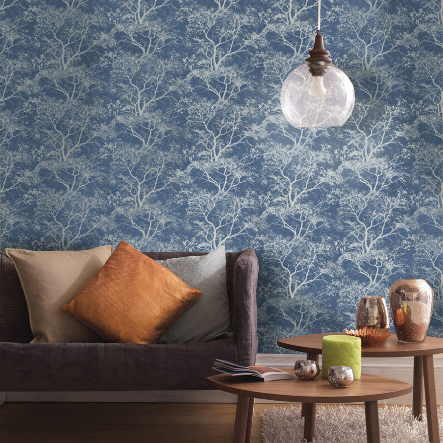 Albany Whispering Trees Navy Wallpaper - Product code: 65402