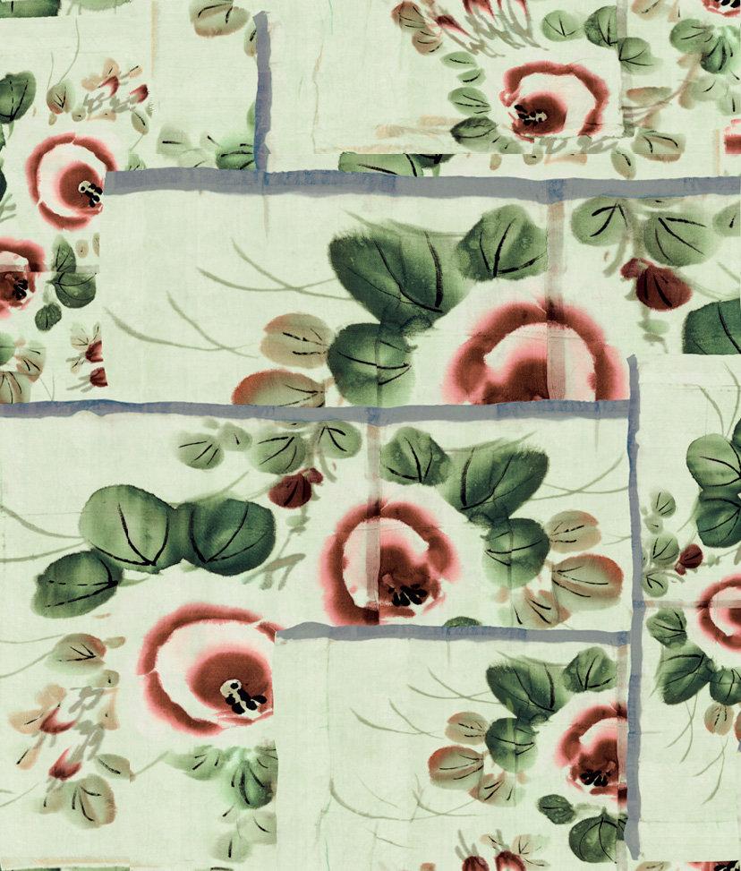 Anastasia Wallpaper - Green Almond - by Jean Paul Gaultier