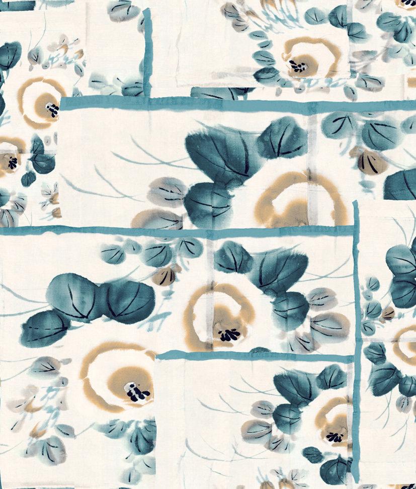 Anastasia Wallpaper - Blue - by Jean Paul Gaultier