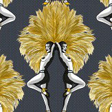 Graduate Collection Showgirls Black / Mustard Wallpaper - Product code: MS1SGWALMUS
