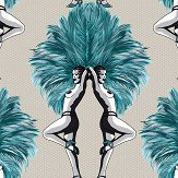 Graduate Collection Showgirls Teal / Taupe Wallpaper