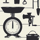 Graduate Collection Airfix Kitchen Black Black / Cream Wallpaper