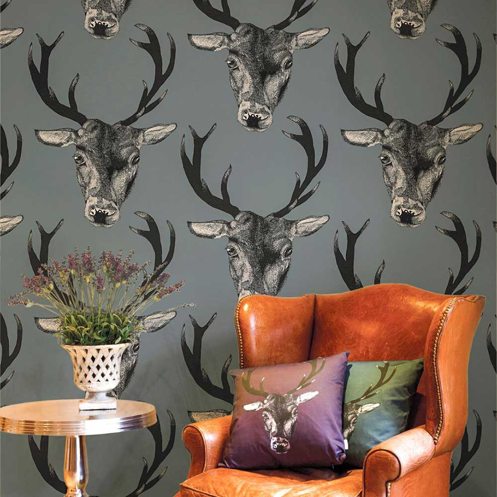 Stag Head Grey Wallpaper - by Graduate Collection