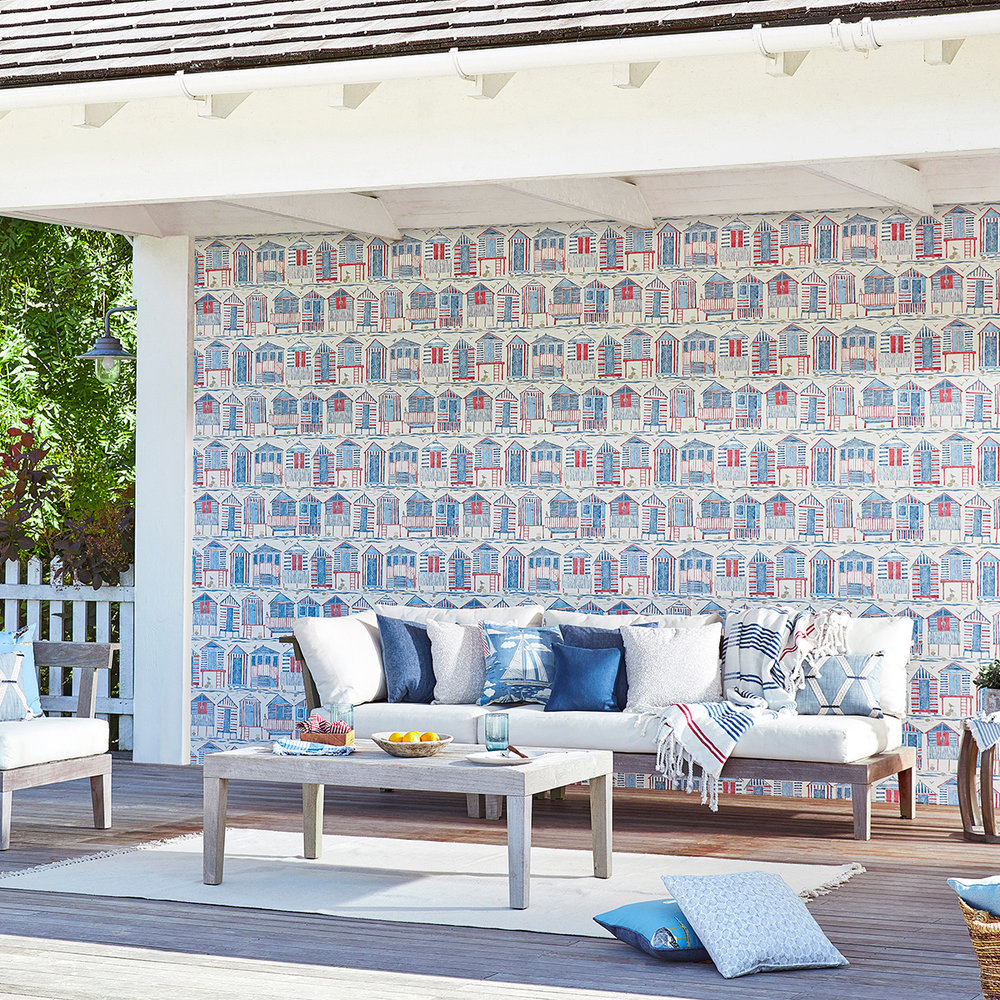 Beach Huts Wallpaper - Nautical - by Sanderson
