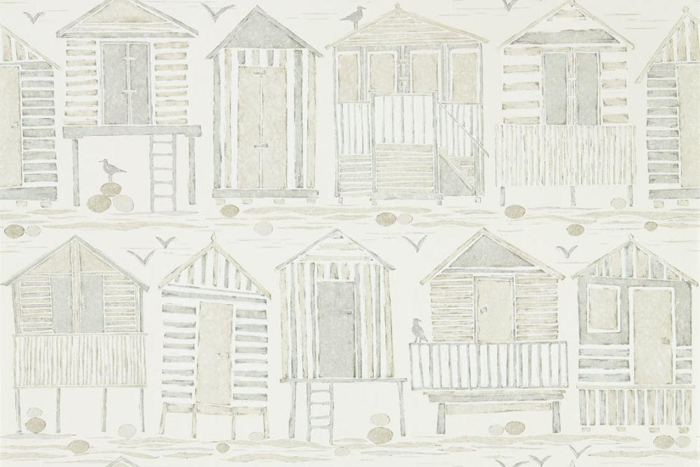 Sanderson Beach Huts Driftwood Wallpaper main image