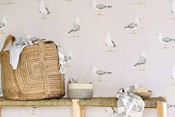 Sanderson Shore Birds Blush Wallpaper