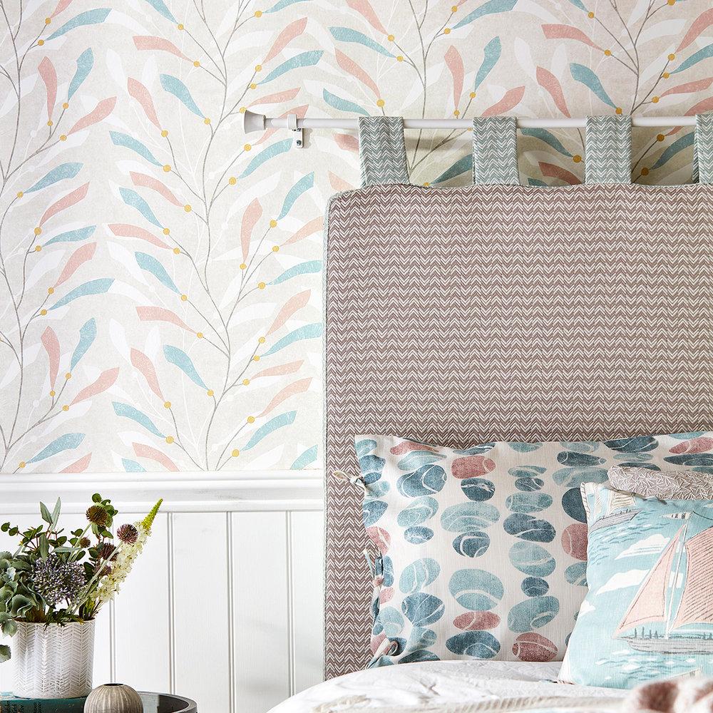 Sea Kelp Wallpaper - Blush / Stone - by Sanderson