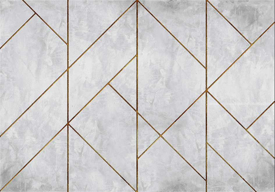 Geometric Concrete Mural - Gold - by Coordonne