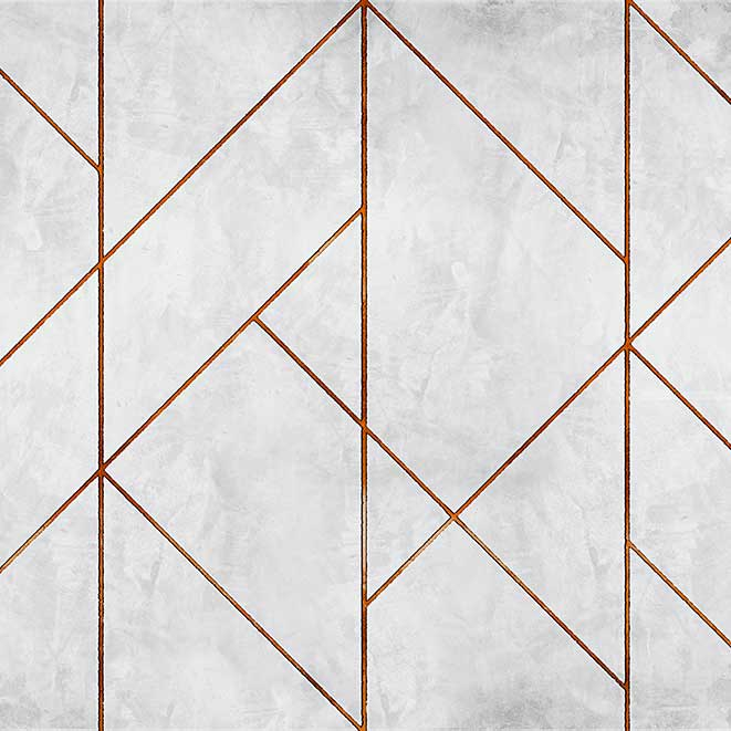 Geometric Concrete Mural - Copper - by Coordonne