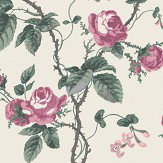 Boråstapeter French Roses Pink / Green Wallpaper