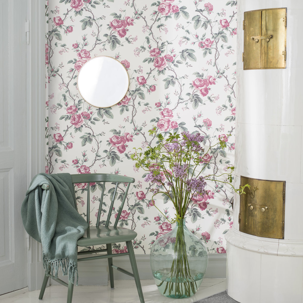French Roses Wallpaper - Pink / Green - by Boråstapeter