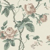 Boråstapeter French Roses Cream / Green Wallpaper