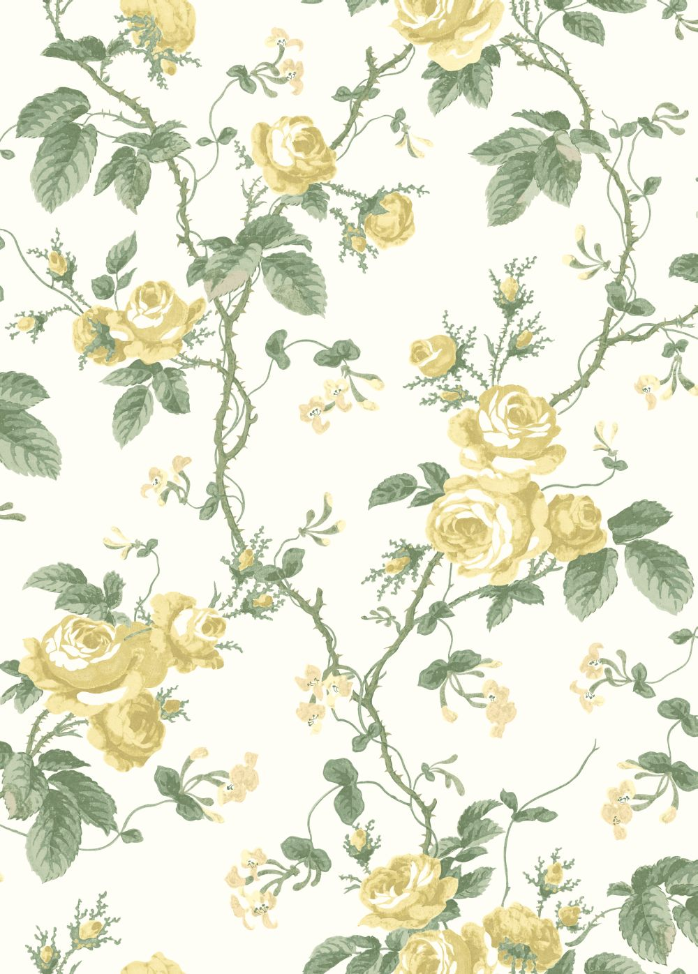 Boråstapeter French Roses Yellow Wallpaper - Product code: 7213