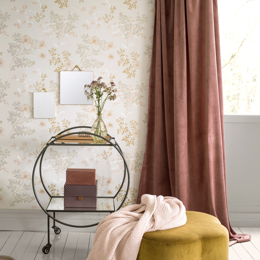 Prairie Rose Wallpaper - Grey - by Boråstapeter