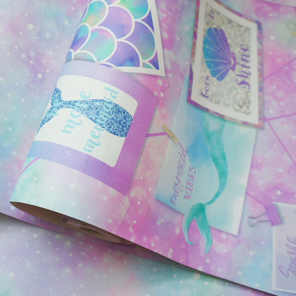 Be More Mermaid Glitter Wallpaper - Multi - by Albany