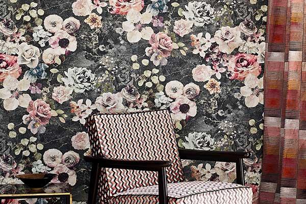 Jane Churchill Marble Rose Charcoal Wallpaper