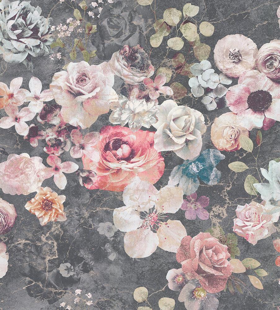 Jane Churchill Marble Rose Charcoal Wallpaper main image