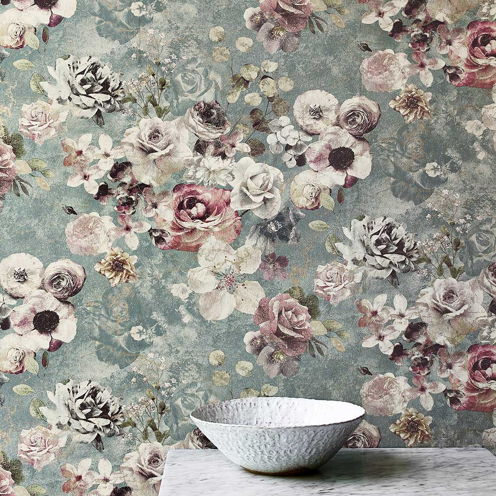 Jane Churchill Marble Rose Aqua Wallpaper extra image